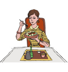 woman eating pasta vector image vector image
