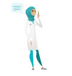 Young muslim doctor with speech bubble vector