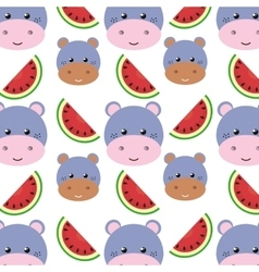 Hippopotamus carton and watermelon background vector
