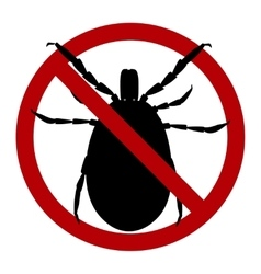 Warning sign harvest bug in a red circle vector