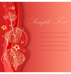 Valentine day card with hearts and flowers vector
