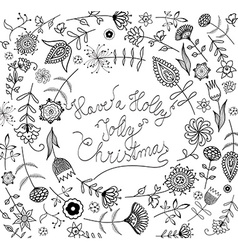 Handwritten Christmas slogan with many flowers vector image