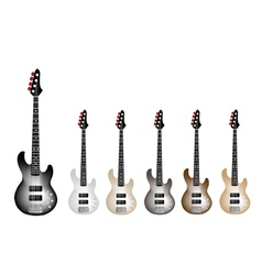 Vintage electric guitars on white background vector