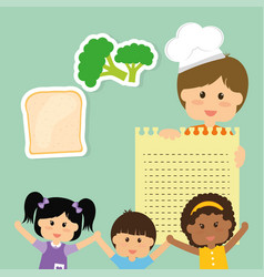 Childrens food menu delicious diet vector