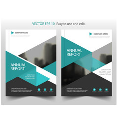 Green triangle annual report brochure design vector