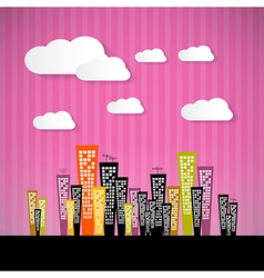 Abstract retro paper city with clouds and pink vector