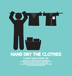 Hang the clothes on a clothesline vector