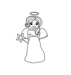 Christmas doodle angel vector image