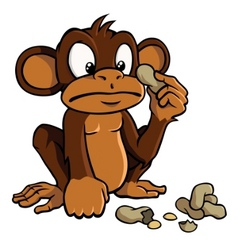 Cartoon monkey with peanuts vector