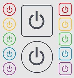 Power icon sign symbol on the round and square vector