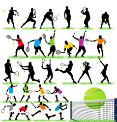 26 tennis players silhouettes set vector image