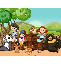 Children and wild animals outside vector image
