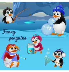 Funny penguins busy with different things vector