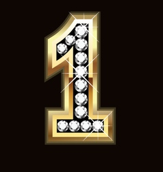Number one bling gold and diamonds vector