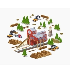 Lumber mill sawmill building vector