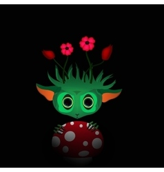 a green monster with flowers vector image