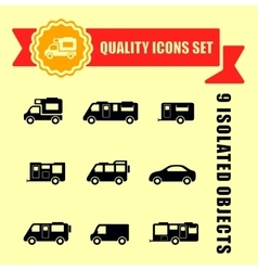 Camper van quality icons vector