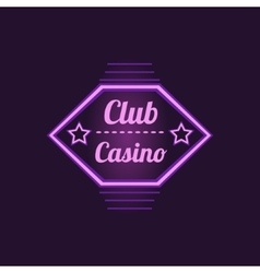 Club casino purple neon sign vector
