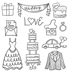 Collection of wedding element in doodle style vector