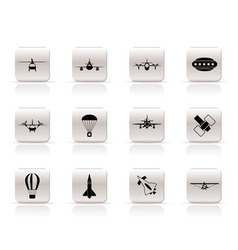 different types of aircraft s and icon vector image vector image