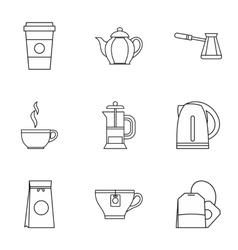 Drink icons set outline style vector