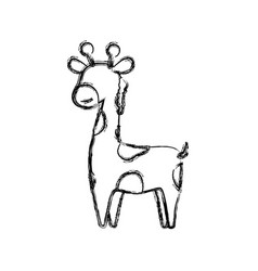 Giraffe cartoon animal childish faceless vector