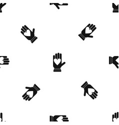 hand with heart pattern seamless black vector image vector image