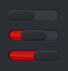 Interface slider bar red bar on black background vector