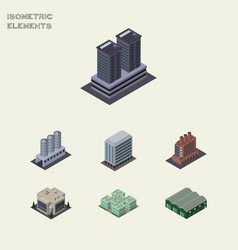 Isometric architecture set of warehouse tower vector
