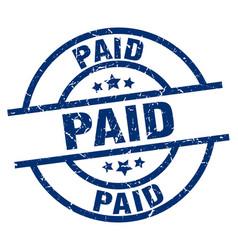 Paid blue round grunge stamp vector