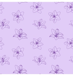 Purple seamless pattern with lily Floral lilac vector image vector image
