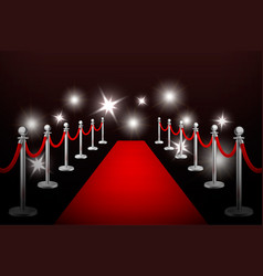 Realistic red event carpet silver vector