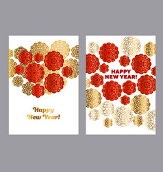 Red and gold pattern in china style vector