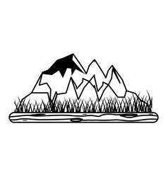 Rocky mountain with snow icon image vector