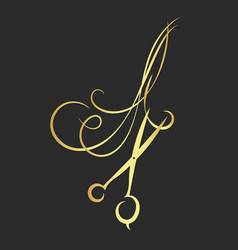 scissors and ringlets of hair vector image vector image