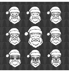 Set of smiling Santa Claus face with round glasses vector image vector image