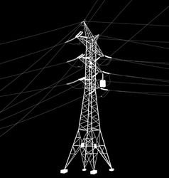 Silhouette of high voltage power line vector