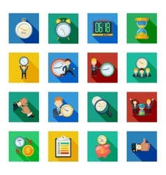 Time Management Flat Shadow Icons Set vector image vector image