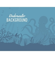 Underwater background template with kraken vector image