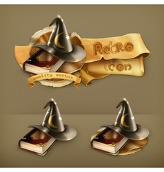 Wizard hat and old book icon vector image