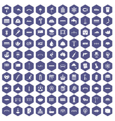 100 bridge icons hexagon purple vector