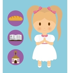 Girl kid cartoon bread bible church icon vector