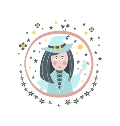 Witch fairy tale character girly sticker in round vector