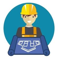 Engineer worker with blueprint vector image