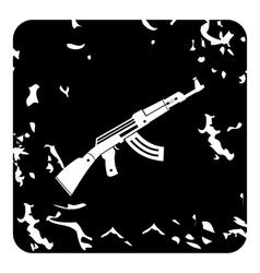 Automatic Kalashnikov icon grunge style vector image
