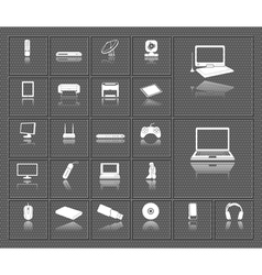 Computer electronic tv and media device icons set vector