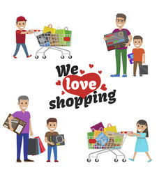 we love shopping idea set of people with articles vector image