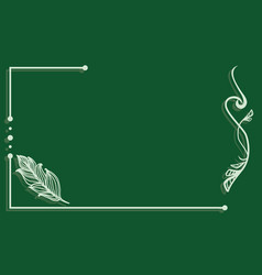 ornate line art frame with feather vector image