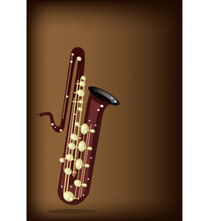 A musical bass saxophone on dark brown background vector