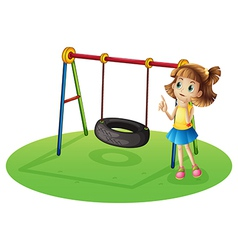 A girl thinking beside a swing vector image